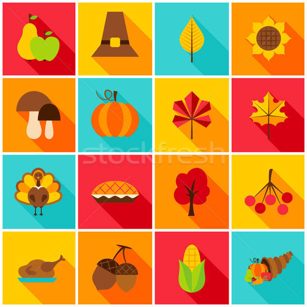 Thanksgiving Day Colorful Icons Stock photo © Anna_leni