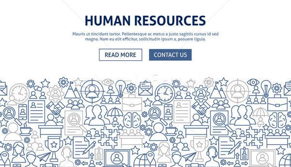 Umani risorse banner design line web Foto d'archivio © Anna_leni