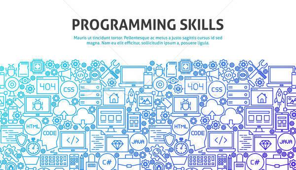 Programmazione competenze line progettazione di siti web banner modello Foto d'archivio © Anna_leni