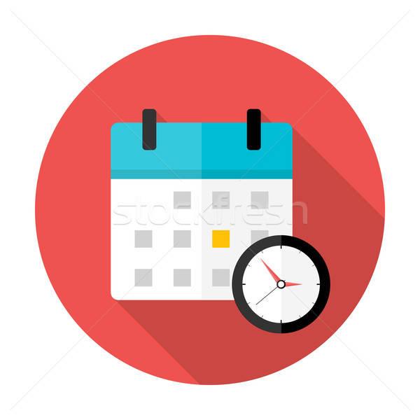 Kalender klok tijd cirkel icon gestileerde Stockfoto © Anna_leni