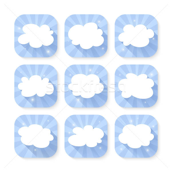 Chmura icon zestaw niebieski informacji przycisk nowoczesne Zdjęcia stock © Anna_leni