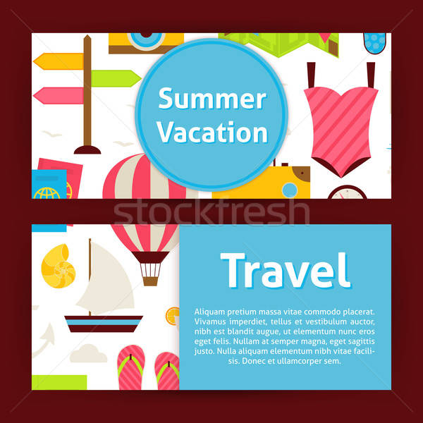 Summer Vacation Concept and Travel Strategy Modern Flat Style Ve Stock photo © Anna_leni