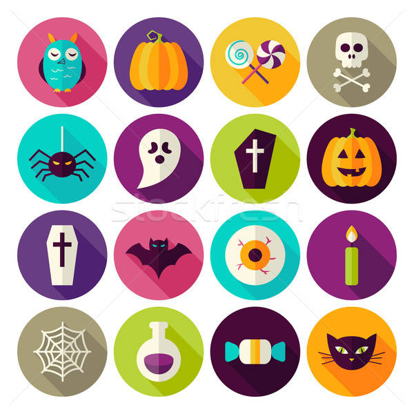 Flat Halloween Trick or Treat Circle Icons Set with long Shadow Stock photo © Anna_leni