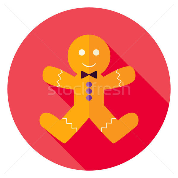 Stock photo: Flat Design Gingerbread Man Cookie Circle Icon