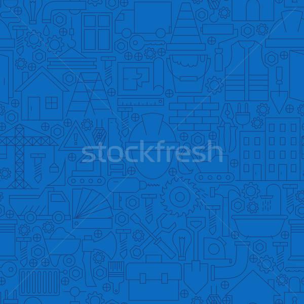 Stock fotó: Vékony · vonal · sötét · kék · építkezés · végtelen · minta