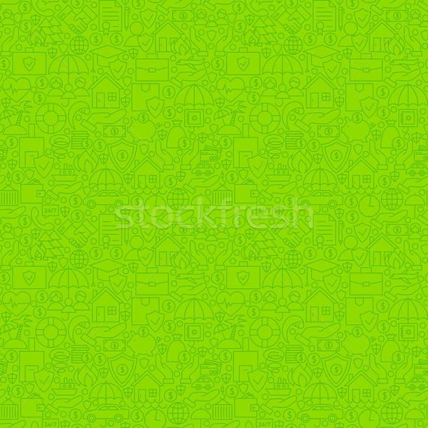 Green Thin Line Insurance Seamless Pattern Stock photo © Anna_leni