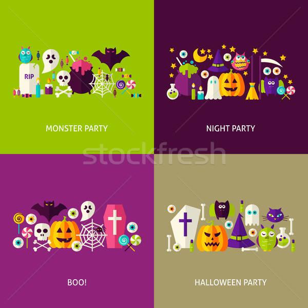 Scary halloween koncepcje zestaw projektu kolekcja Zdjęcia stock © Anna_leni