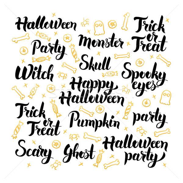 Happy Halloween Hand Drawn Lettering Stock photo © Anna_leni