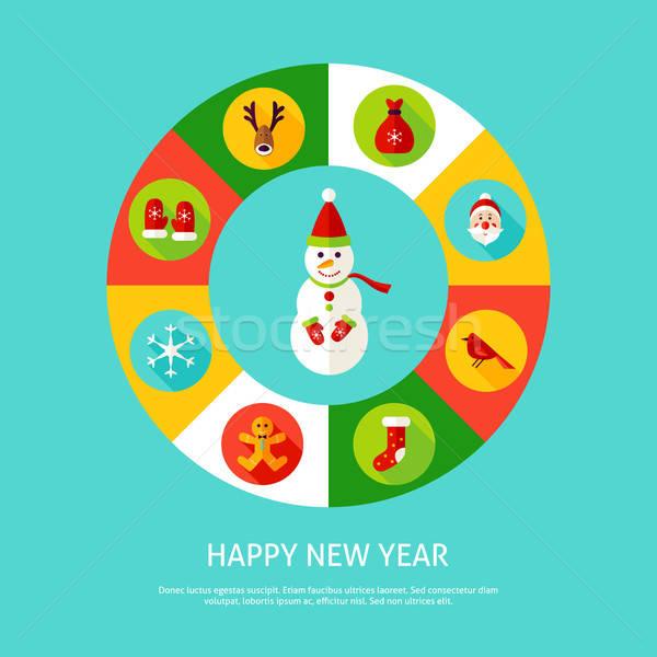 Сток-фото: с · Новым · годом · Рождества · праздник · Инфографика · круга