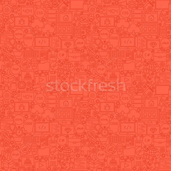 Red Line Coding Seamless Pattern Stock photo © Anna_leni