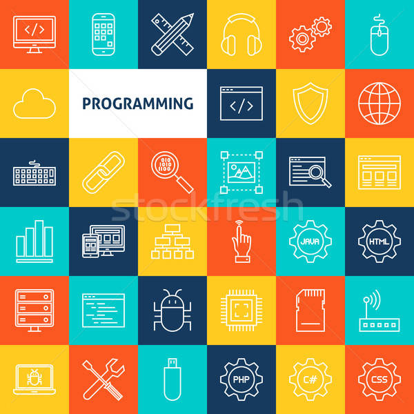 Vector lijn programmering iconen dun schets Stockfoto © Anna_leni