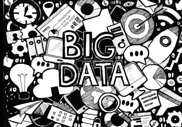 Groot gegevens zwart wit illustratie business Stockfoto © Anna_leni