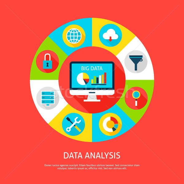 データ 分析 データベース インフォグラフィック サークル コンピュータ ストックフォト © Anna_leni