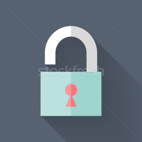 Abierto candado icono azul negocios seguridad Foto stock © Anna_leni