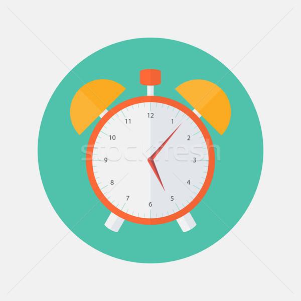 Red and yellow alarm clock flat icon Stock photo © Anna_leni