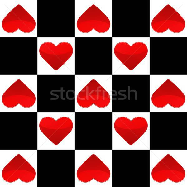 Seamless texture with chess board and small red hearts Stock photo © Anna_leni