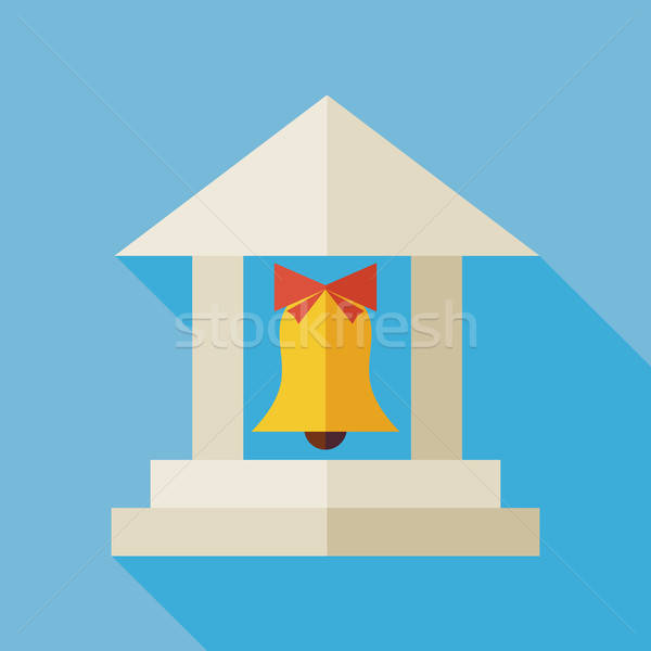 Flat Back to School Building Illustration with Long Shadow Stock photo © Anna_leni