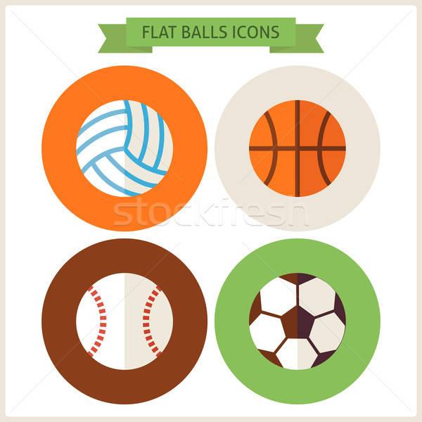 Sport golyók weboldal ikon szett kör ikonok Stock fotó © Anna_leni