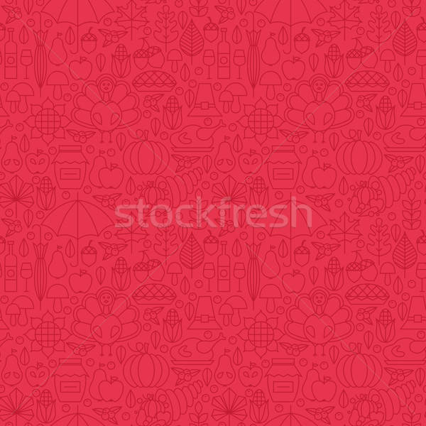 Thin Holiday Line Thanksgiving Day Red Seamless Pattern Stock photo © Anna_leni