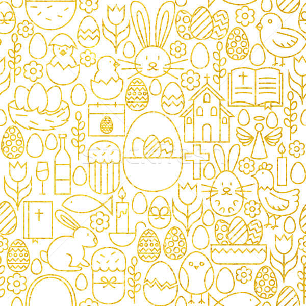 Thin Line Gold Happy Easter Seamless Pattern Stock photo © Anna_leni