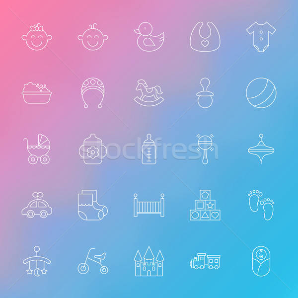 Toys and Baby Line Icons Set over Blurred Background Stock photo © Anna_leni