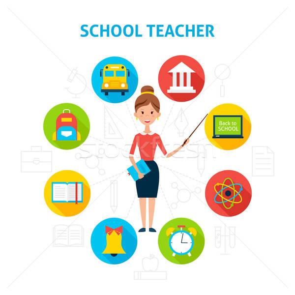 Stock fotó: Iskola · tanár · oktatás · ikonok · stílus · emberek