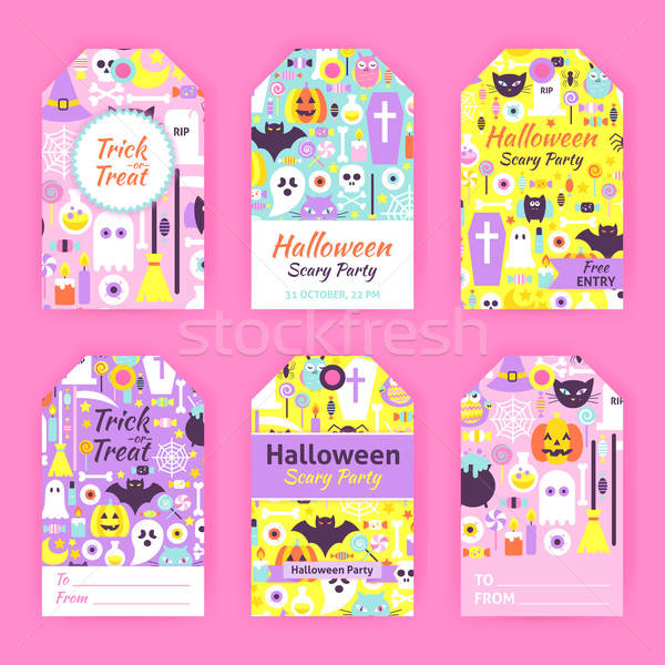 Trendy Halloween Gift Tag Labels Stock photo © Anna_leni
