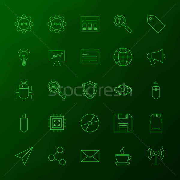 Programming Skills Line Icons Stock photo © Anna_leni