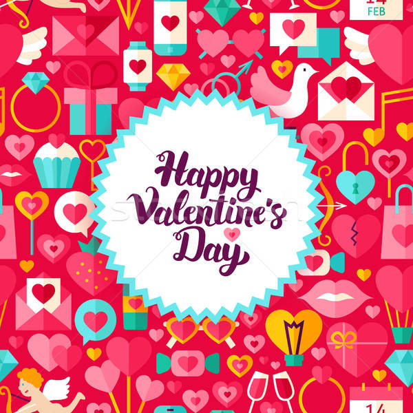 Saint valentin carte postale style amour vacances affiche Photo stock © Anna_leni