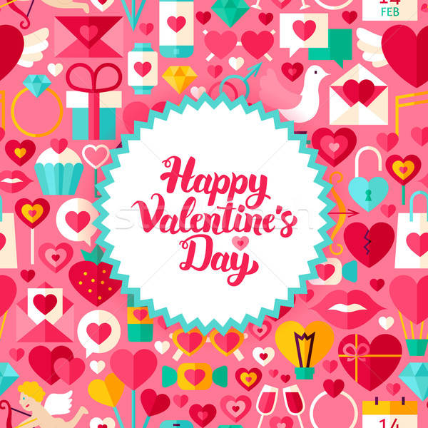 Flat Valentine Day Postcard Stock photo © Anna_leni