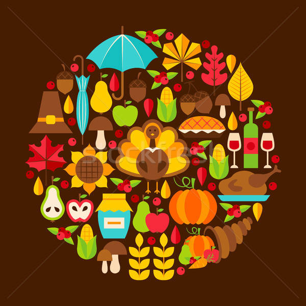 Flat Thanksgiving Day Concept Stock photo © Anna_leni