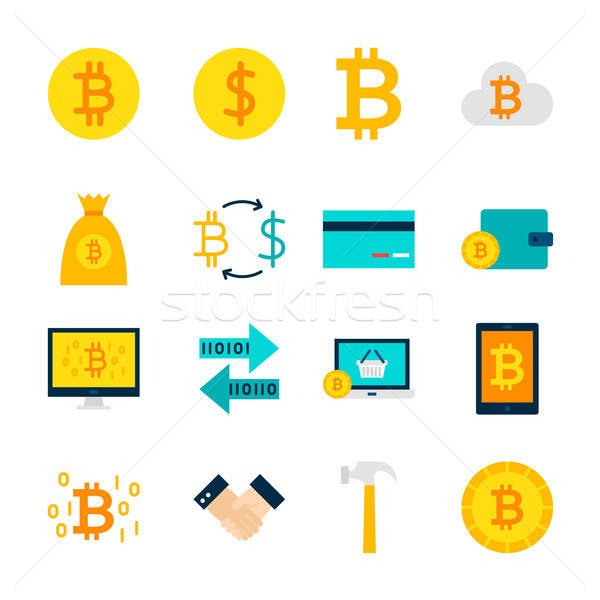 Currency Bitcoin Objects Stock photo © Anna_leni