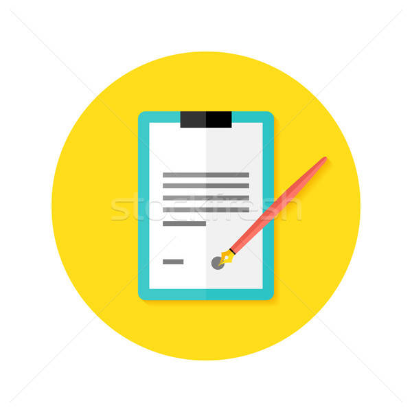 Contract Clipboard with Pen Flat Circle Icon Stock photo © Anna_leni