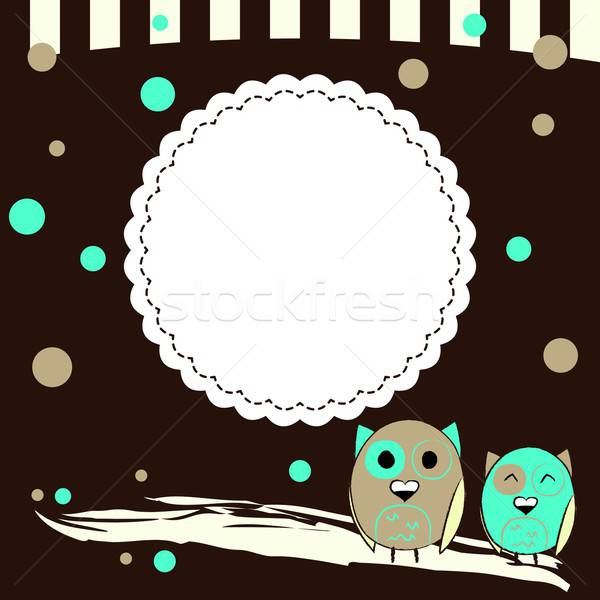 Template for postcard with two owls and brown background Stock photo © Anna_leni