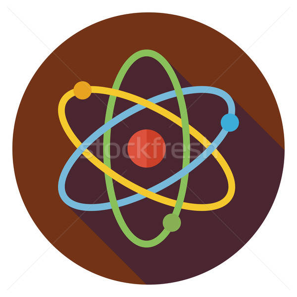 Flat Education and Science Sign Circle Icon with Long Shadow Stock photo © Anna_leni