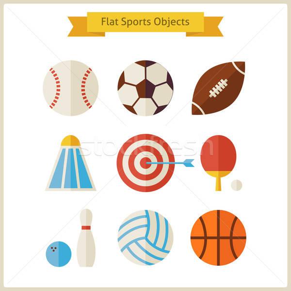 Sportok tárgyak szett gyűjtemény egészséges életmód sport Stock fotó © Anna_leni