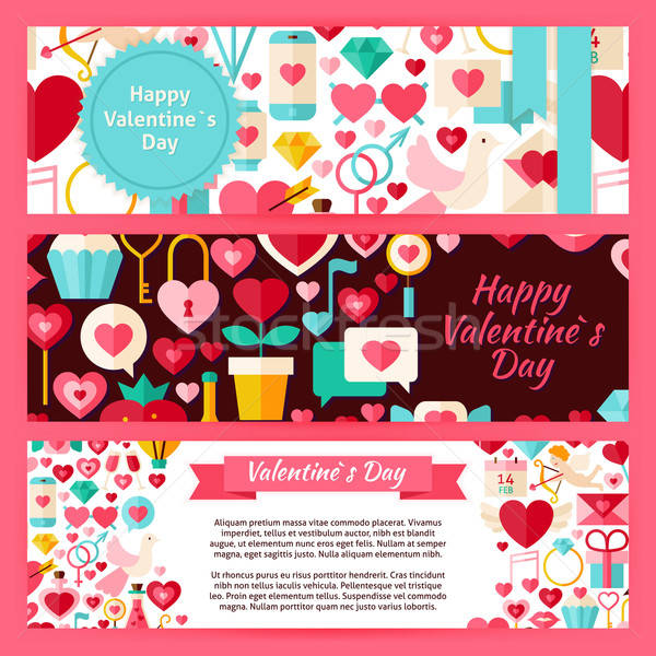 Happy Valentine Day Vector Template Banners Set in Modern Flat S Stock photo © Anna_leni