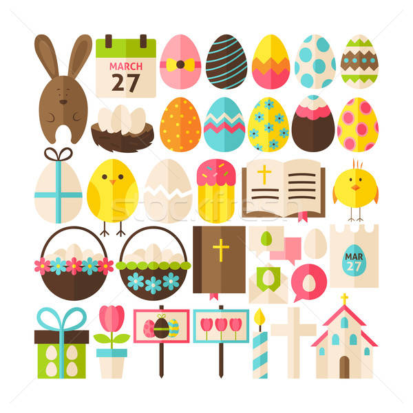 Big Flat Style Vector Collection of Happy Easter Objects Stock photo © Anna_leni