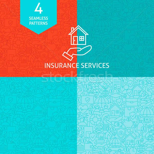 Line Art Insurance Services Pattern Set Stock photo © Anna_leni