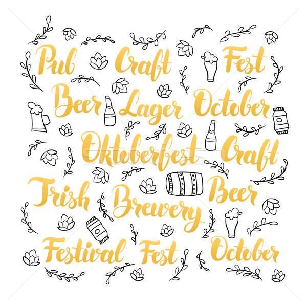 Oktoberfest establecer cervecería caligrafía dibujado a mano cerveza Foto stock © Anna_leni
