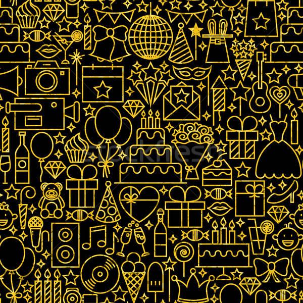 Line Gold Black Birthday Tile Pattern Stock photo © Anna_leni