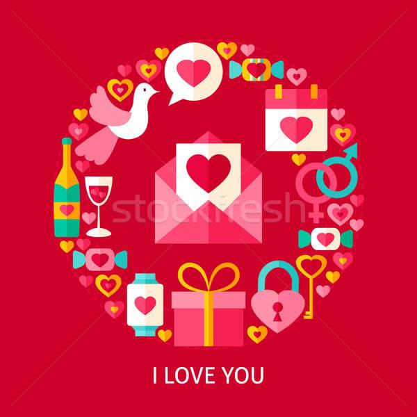 Sevmek kartpostal poster dizayn toplama valentine Stok fotoğraf © Anna_leni