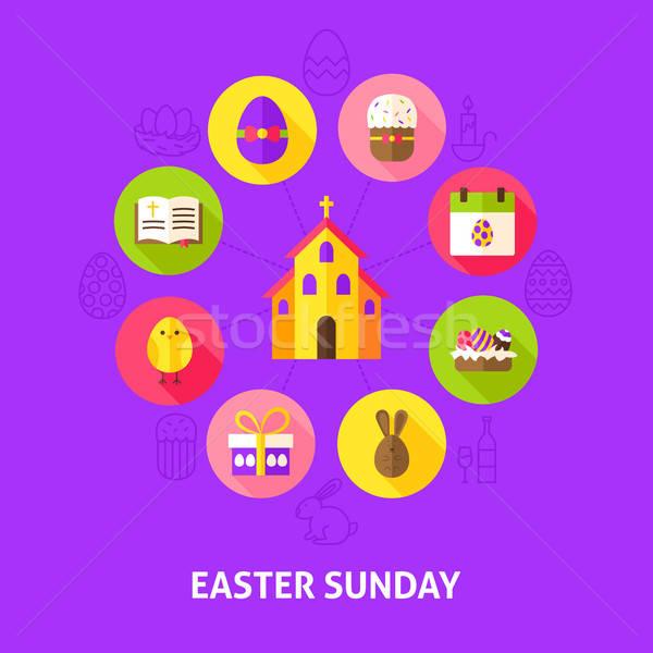 Stock fotó: Húsvét · tavasz · ünnep · infografika · kör · boldog