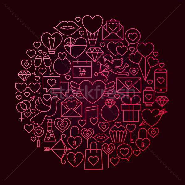 バレンタイン 日 行 アイコン サークル 愛 ストックフォト © Anna_leni