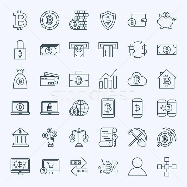 Línea bitcoin iconos vector establecer delgado Foto stock © Anna_leni