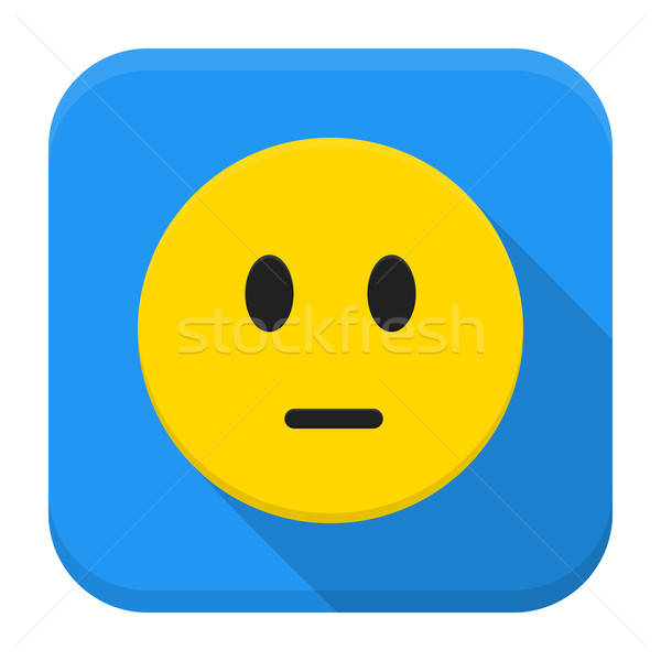 Pensive yellow smile app icon with long shadow Stock photo © Anna_leni