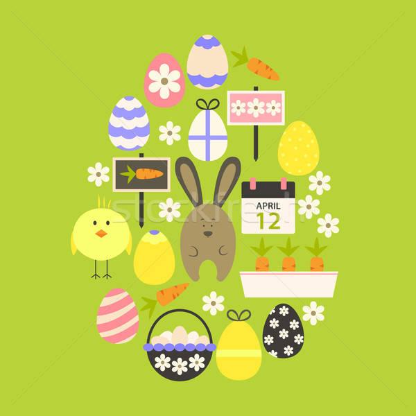 Pasqua uovo verde stilizzato Foto d'archivio © Anna_leni