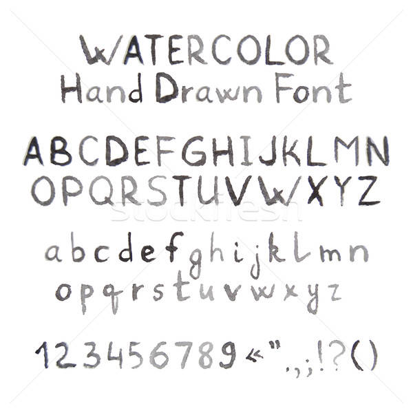 Dark Grey Watercolor Hand Drawn Font Stock photo © Anna_leni