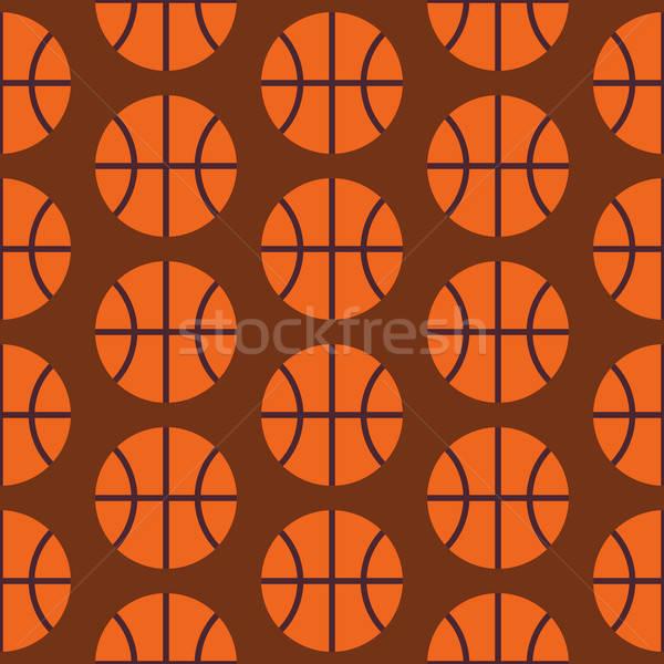 Flat Vector Seamless Sport and Activity Basketball Pattern Stock photo © Anna_leni