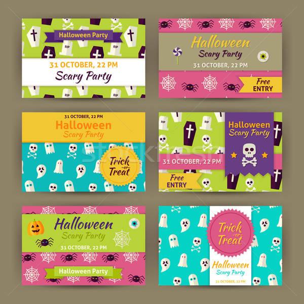 Halloween Vector Party Invitation Template Flat Set Stock photo © Anna_leni